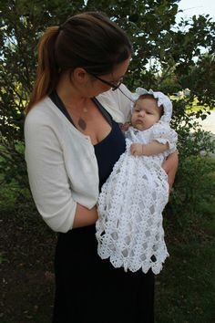 Picture of Blessed Christening Set Crochet Pattern Baby Girl Crochet, Crochet Baby Shoes, Crochet Baby Clothes, Baby Christening Gowns, Baby Girl Baptism, Crochet Square Patterns, Gown Pattern, Baby Hats Knitting, Baby Dress
