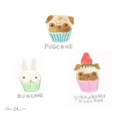 Pugcakes (and a Bunnycake) by Claire Chambers - Chickenpants Studio