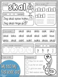 Mengdetrening med høyfrekvente ord! Danish Language, Barn Crafts, Double Exposure, First Grade, Fun Learning, Norway, Children, Kids, Kindergarten