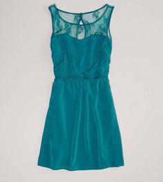 Dark teal lace top dress