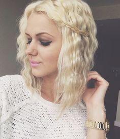 Crimped hair with a braid