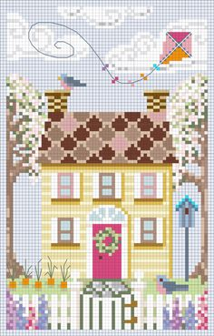 """Spring House"" from ""A House For All Seasons"" Complimentary Cross Stitch Collection by Brooke Nolan of Brooke's Books Publishing Designed exclusively for Brooke's Books Interactive Yahoo! Group: http://groups.yahoo.com/group/bbinteractive/"