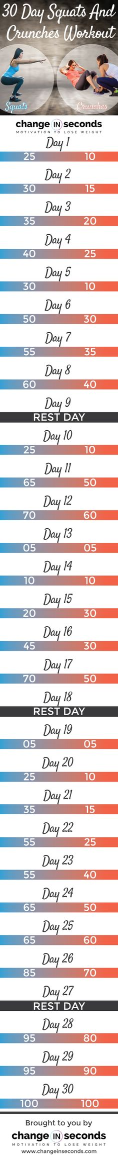 30 Day Squats And Crunches Workout (Download PDF)