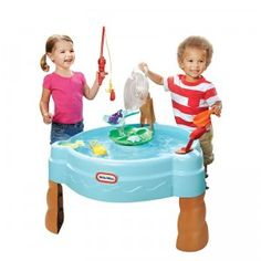An outdoor activity table that you can fill with up to seven gallons of water for pretend fishing play.