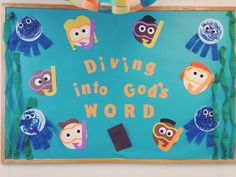 Summer - Dive into God's word. Maybe add fish w/ Bible verses on them Ocean Bulletin Board, Daycare Bulletin Boards, Religious Bulletin Boards, Bible Bulletin Boards, Christian Bulletin Boards, Summer Bulletin Boards, Sunday School Classroom, Sunday School Kids, Sunday School Lessons