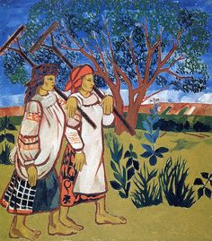 Natalia Goncharova. Peasant Women with Rakes, 1907.
