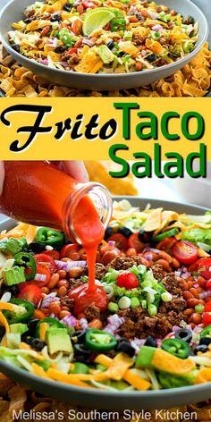 Frito Taco Salad Enjoy this Frito Taco Salad as an appetizer, side dish or entree any night of the week #fritosalad #tacosalad #saladrecipes #dinnerideas #groundbeefrecipes #tacos #fritosalad #easyrecipes #southernrecipes #southernfood #melissassouthernstylekitchen