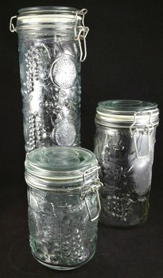 Vintage Clear Glass Canister Set, Set of 3 Glass Canisters, Food Storage, Kitchen Storage, Kitchen Decor by EmptyNestVintage on Etsy