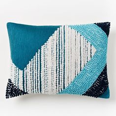 """Striped Angled Crewel Pillow Cover - Blue Teal 