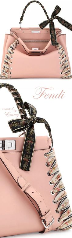 Brilliant Luxury♦Fendi Candy Colours Spring 2017♦Peekaboo Medium Ribbon Whipstitch Satchel Bag in Light Pink