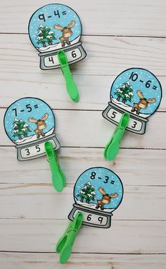 Winter Snow Globe Subtraction Within 10 Clip Card Math Centers Subtraction Kindergarten, Montessori Math, Teaching Resources, Teaching Ideas, Early Finishers, Little Learners, Folder Games, File Folder, Elementary Math