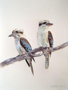 'Kookaburras' by melhillswildart – birds – dibujo Animals Artwork, Art Painting, Animal Art, Animal Drawings, Australian Art, Bird Sketch, Bird Artwork, Bird Drawings, Watercolor Bird