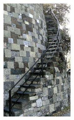 Stairs to River Street in Savannah (always wear flats, ladies -- trust us!)