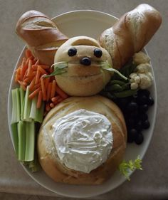 Easter bunny (notice I didn't say cute easter bunny) vegetable plater.