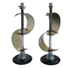 lucite and aluminum lamps