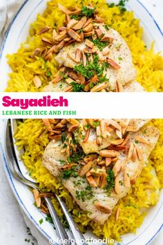 This authentic Sayadieh recipe is also known as Lebanese Rice and Fish - made with perfectly seasoned fluffy rice Tofu Recipes, Lunch Recipes, Seafood Recipes, Recipies, Dinner Recipes, Weeknight Meals, Quick Meals, Cod Fish Fillet, Pan Fried Fish