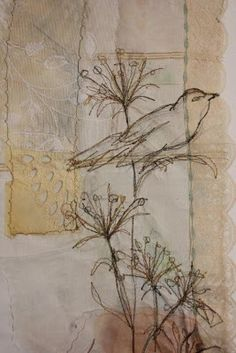 Cas Holmes  mixed media  - original drawing  - wayside grasses and bird