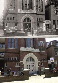 Bekladding van de Synagoge aan de Gerard Noodstraat. De synagoge werd uiteindelijk door de Duitsers geconfisqueerd en gebruikt als opslagplaats. De hele inboedel is door NSB-ers en Duitsers vernield.