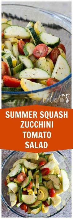 A stevia sweetened dressing coats vegetables in this simple zucchini and squash salad. This is a great potluck dish to show off your summer garden crop. Salad Recipes Low Carb, Veggie Recipes, Cooking Recipes, Healthy Recipes, Gf Recipes, Simple Recipes, Zucchini Tomato, Zucchini Salad, Zucchini Squash