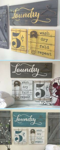 """Laundry room signs """"wash dry fold repeat"""" in a variety of colors to make your color scheme. I personally love the yellow and grey #homedecor #homedesign #homedecoration #homedecorideas #homesweethome #homestyle #country #farmhouse #farmhousestyle #farmhousedecor #rusticdecor #laundry #laundryroom #commissionlink"""