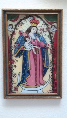 """""""Mary and Jesus"""" painted behind glass (reverse glass painting) Framed in Antique Frame."""