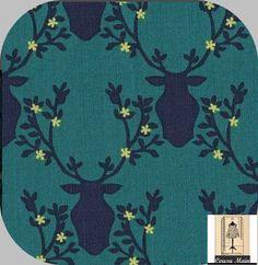 tissu coton trophée tête de cerf sur fond bleu canard - Tissu ameublement, déco, : Tissus Habillement, Déco par cousu-main-mercerie
