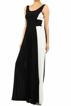 #salediem #blackandwhite #fashion Color block, sleeveless jumpsuit with a low back and a wide leg features a banded waist
