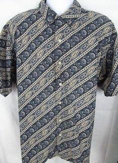 2a143168274 POLO RALPH LAUREN Vintage Camp PAISLEY Mens Shirt Blue XL Extra LARGE S.  Sleeve  20.05