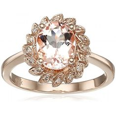10k Rose Gold Morganite and Diamond Flower Halo Ring . Available at http://www.Brandinia.com