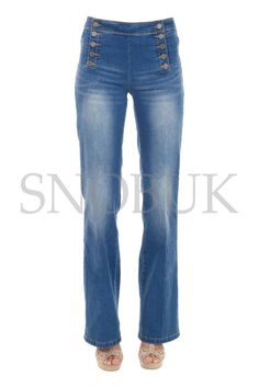 Womens Jeans Bootcut Women s Pants Trousers Bell-bottoms Hipsters Top Model UK