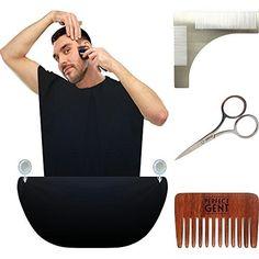 KING POSEIDON Beard Bib Catcher with Beard Shaping Tool Comb, Black