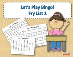 Fry List 1 - Words 1 to 100 40 Bingo Cards with Free Space 25 playing spaces per cards Call list of the 100 words randomized Print on card stock and laminate for multiple uses Print on regular paper for one-time use