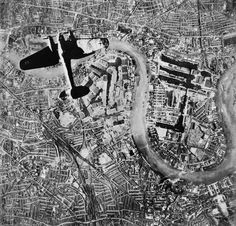 A Heinkel He 111 bomber flying over the Isle of Dogs in the East End of London, at at the start of the Luftwaffe's evening raids of 7 September 1940 / Imperial War Museum History Online, World History, World War Ii, History Pics, History Images, Local History, Luftwaffe, London History, British History