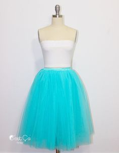 Clarisa  Aqua Blue Tulle Skirt Turquoise Tulle Skirt by CestCaNY-$79.00+