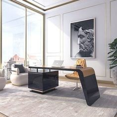 – Executive Home Office Design Office Table Design, Industrial Office Design, Modern Office Design, Office Furniture Design, Office Interior Design, Luxury Interior Design, Home Office Decor, Office Interiors, Interior Design Living Room