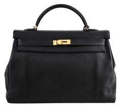89321abf5f20 GB1030249K HERMES Hermes Black Box Calf Kelly Sellier Bag Pebbled Leather  Signature Hermes highly coveted Box