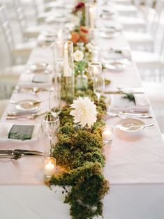 Moss Wedding Decor, Wedding Table, Rustic Wedding, Wedding Ideas, Moss Table Runner, Table Runners, Reception Decorations, Event Decor, Table Decorations
