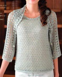 Blusa y capa versátil (se convierte a bolero, bufanda y capa). Con esquema.