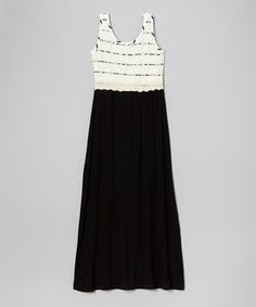 Look at this #zulilyfind! White & Black Stripe Lace Maxi Dress - Girls by Btween #zulilyfinds