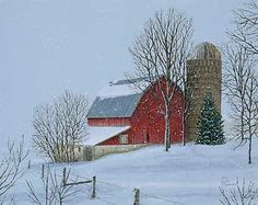 Farm Painting; Barnyard Christmas by Rollie Brandt | Wild Wings