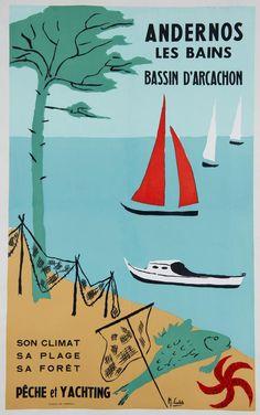 Marie Castets, affiche Andernos les Bains Bassin d'Arcachon, 1950, musée d'Aquitaine Bordeaux