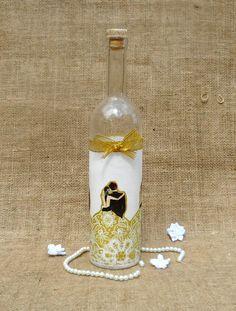 """""""Arany nászpár"""" szülőköszöntő ajándék pálinkás üveg"""