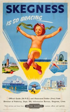 Skegness So Bracing British Railways, 1950s - original vintage poster by Wilfred Moody Fryer listed on AntikBar.co.uk