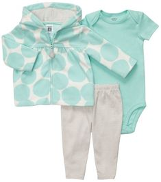 Carters 3 Pc Cardigan  Pant Set  Jade Dots9M >>> Check out this great product. (This is an affiliate link) #BabyGirlClothingSets