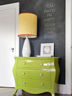 """Freshen up an old chest with green lacquer and new knobs. Add a colorful printed fabric shade"