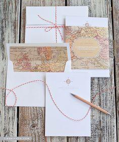 Printable Vintage Map Stationery Set