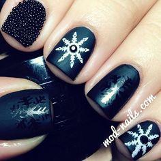 Snowflake nail art and Caviar nails