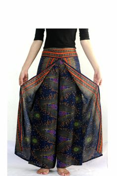 Blue Thai fisherman pants aladdin pants boho pants by Nidnidshop