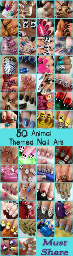 Nail Art Designs : Top 50 Animal Themed Nail Arts www.saturnostore.com
