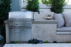 BBQ with a Smooth Stucco Face and Polished Concrete Countertop